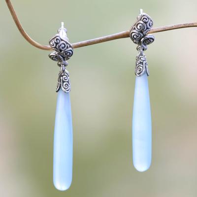 Agate drop earrings, 'Blue Honeysuckle' - Sterling Silver Agate Drop Earrings