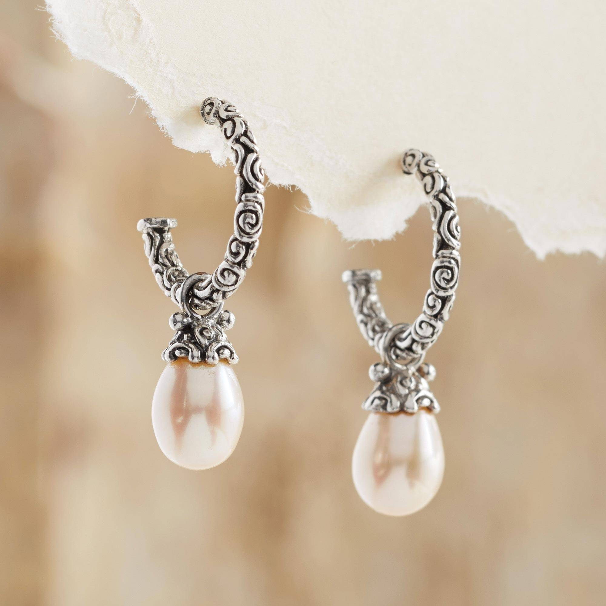 pearl product and black real bridesmaid pave earrings