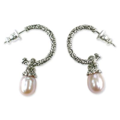 Cultured pearl dangle earrings, 'Blushing Rose' - Sterling Silver Cultured Pearl Half Hoop Earrings