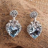 Topaz earrings, 'Quiet Heart' - Heart Shaped Blue Topaz Sterling Silver Earrings