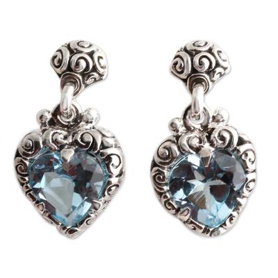 Topaz earrings, 'Quiet Heart' - Heart Shaped Blue Topaz Sterling Silver Earrings