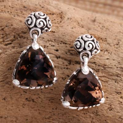 Smoky quartz dangle earrings, 'Mystic Trinity' - Indonesian Smoky Quartz Sterling Silver Earrings