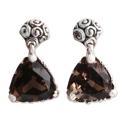 Smoky quartz dangle earrings, 'Mystic Trinity' - Indonesian Smoky Quartz Sterling Silver Earrings