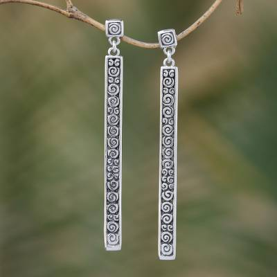 Sterling silver dangle earrings, 'Trailing Curls' - Artisan jewellery Sterling Silver Dangle Earrings