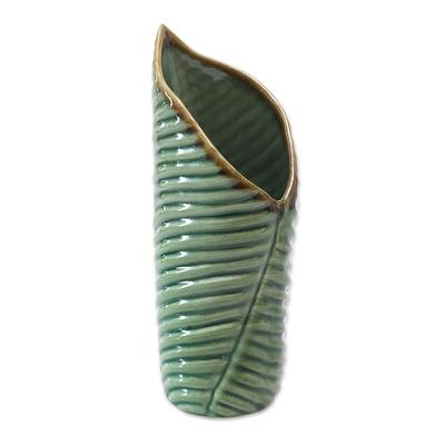 Artisan Crafted Ceramic Leaf Vases (Pair)