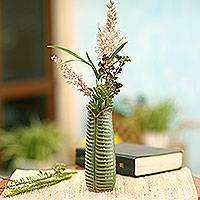 Ceramic vase, 'Nature Speaks' - Green Ceramic Leaf Vase Handcrafted in Bali