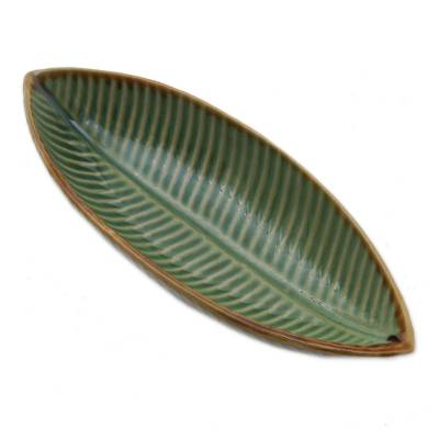 Ceramic bowl, 'Banana Bowl' - Artisan Crafted Ceramic Leaf Bowl