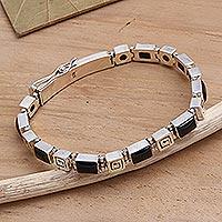 Onyx link bracelet, 'Labyrinth'