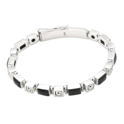 Onyx link bracelet, 'Labyrinth' - Onyx link bracelet