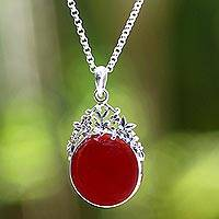 Carnelian pendant necklace, 'Floral Sun' - Carnelian pendant necklace