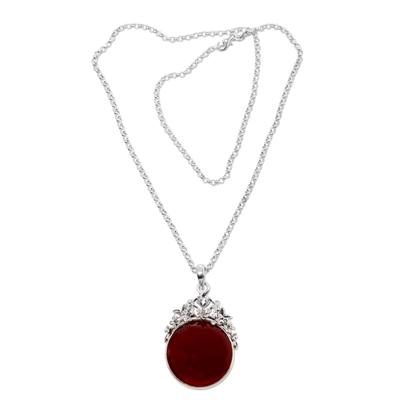 Carnelian pendant necklace, 'Floral Sun' - Carnelian pendant necklace