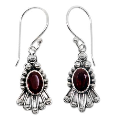 Handmade Sterling Silver Garnet Dangle Earrings