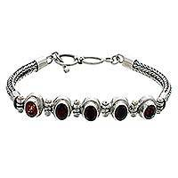 Garnet pendant bracelet, 'Five Treasures' - Garnet Sterling Silver Link Bracelet