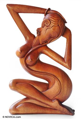 Wood statuette, 'A Woman's Grace' - Female Nude Wood Sculpture