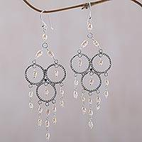 Pearl chandelier earrings, 'Rose Cascade' - Sterling Silver Pearl Chandelier Earrings