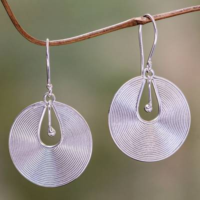 Sterling silver dangle earrings, 'Idea' - Sterling Silver Dangle Earrings