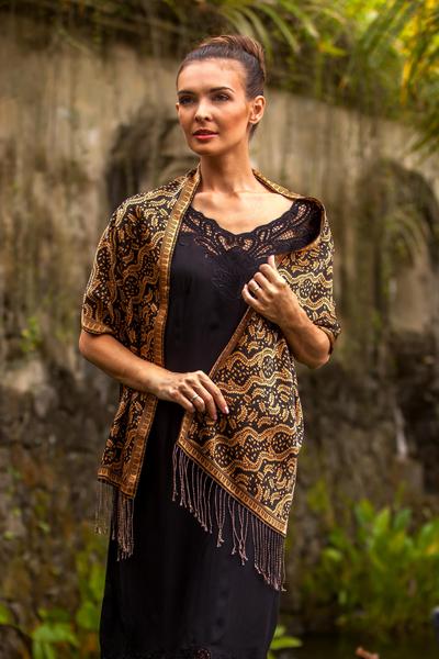 Silk batik scarf, 'Tamarind Leaves' - Unique Indonesian Batik Silk Scarf