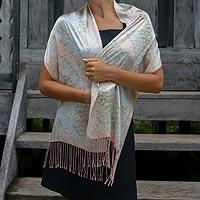 Silk batik scarf, 'Feminine' - Indonesian Batik Silk Scarf