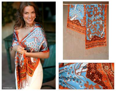 Silk batik scarf, 'Springtime' - Silk batik scarf