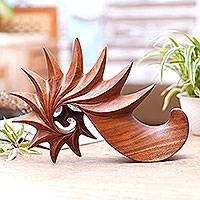 Wood sculpture, 'Vision' - Handcrafted Modern Wood Sculpture from Indonesia