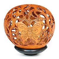 Coconut shell sculpture, 'Wild Butterfly' - Coconut Shell Carving
