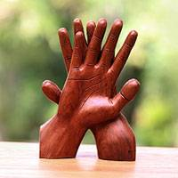Wood statuette, 'Hand of Friendship'