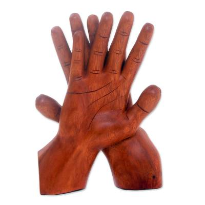 Wood statuette, 'Hand of Friendship' - Artisan Crafted Wood Sculpture