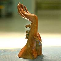 Wood statuette, 'Supportive Hand' - Indonesian Wood Statuette