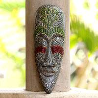 Wood mask, 'Exotic Emerald Ruby' - Wood mask