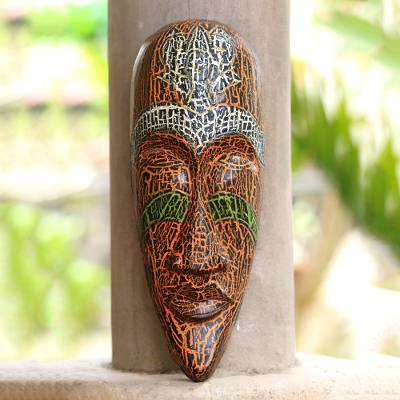Wood mask, 'Exotic Emerald' - Wood mask