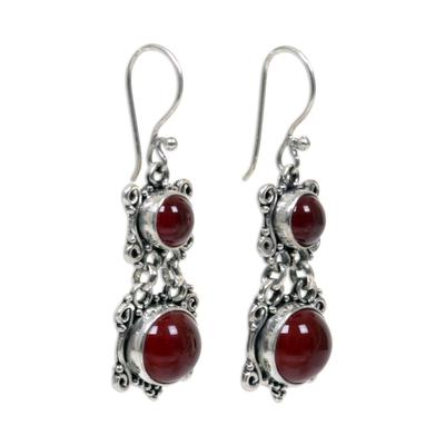 Carnelian dangle earrings, 'Radiant Queen' - Carnelian Sterling Silver Dangle Earrings