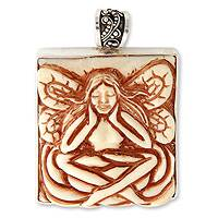 Sterling silver pendant, 'Thoughtful Angel' - Bone Pendant
