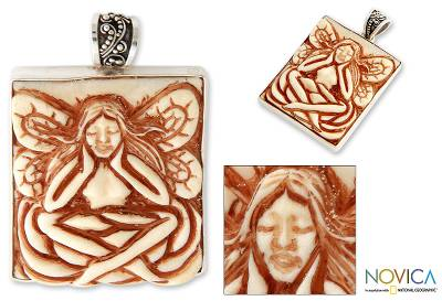Sterling silver pendant, 'Thoughtful Angel' - Hand Crafted Inspirational Pendant