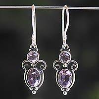 Amethyst dangle earrings, 'Crown Princess' - Sterling Silver Amethyst Dangle Earrings
