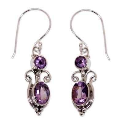 Amethyst dangle earrings, 'Crown Princess' - Sterling Silver Amethyst Dangle Earrings