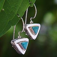 Sterling silver drop earrings, 'Oriental Triangle'