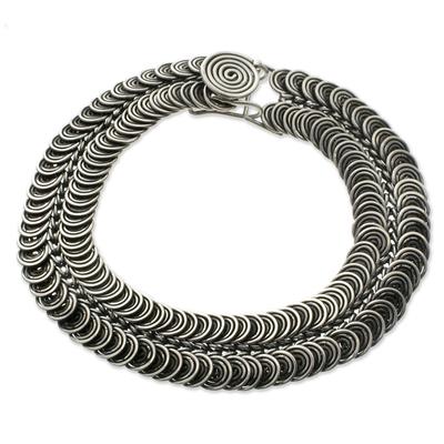 Sterling silver braid bracelet, 'Snail Pass' - Sterling silver Link Bracelet