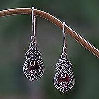 Garnet earrings, 'Red Blossoms' - Sterling Silver Garnet Dangle Earrings