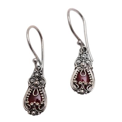 Garnet earrings, 'Red Blossoms' - Sterling Silver Garnet Dangle Earrings
