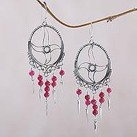 Agate chandelier earrings, 'Joyful Life' - Agate chandelier earrings