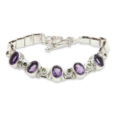 Amethyst and peridot pendant bracelet, 'Exuberance' - Handmade Amethyst Sterling Silver Link Bracelet
