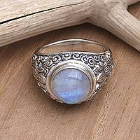 Rainbow moonstone solitaire ring, 'Sacred Lotus'