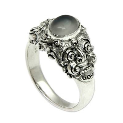 Men's moonstone solitaire ring, 'Goodness' - Men's Moonstone and Sterling Silver Ring