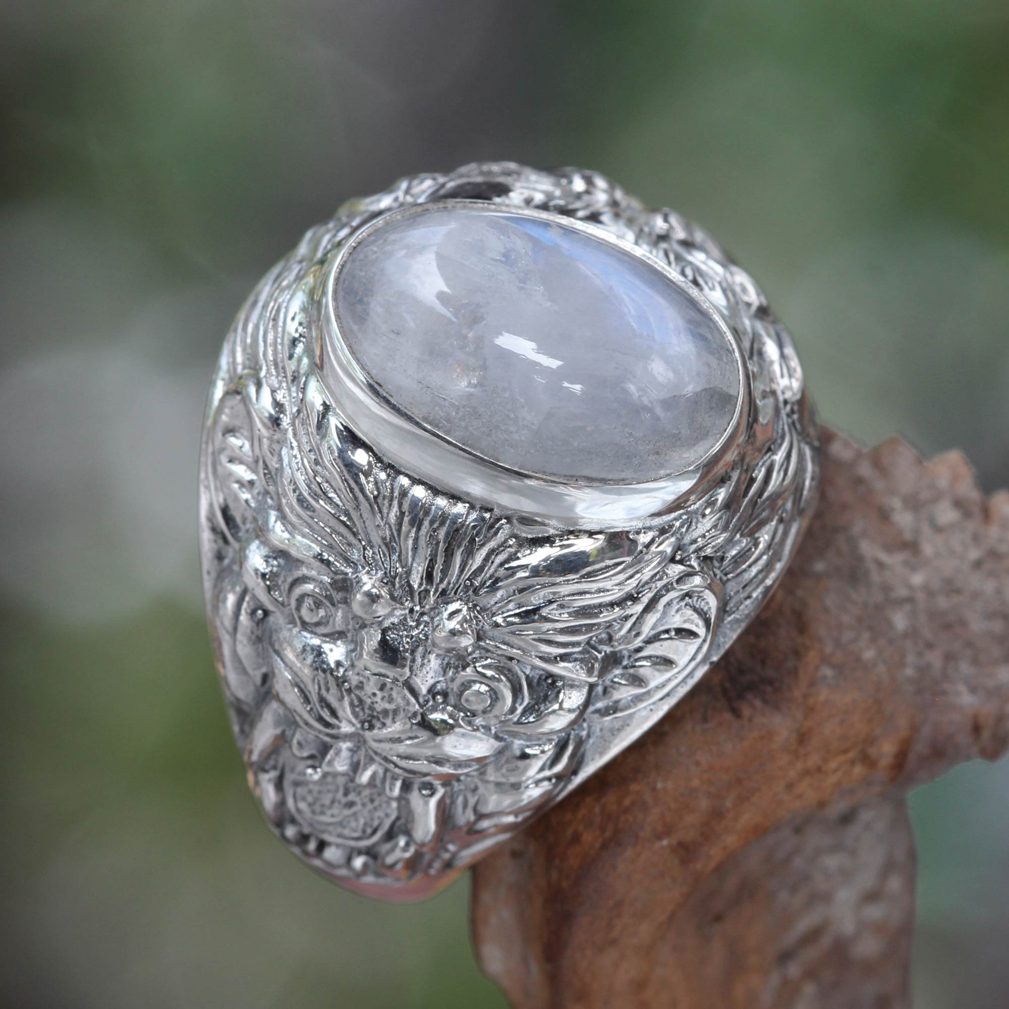 dome novica jewelry lion charisma s mens and sterling men rainbow silver ring rings at moonstone domed