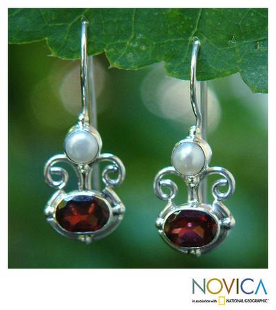 Garnet and pearl dangle earrings, 'Sunrise Spirit' - Sterling Silver Garnet Drop Earrings