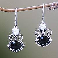 Onyx and pearl drop earrings, 'Sunrise Spirit' - Onyx and pearl drop earrings