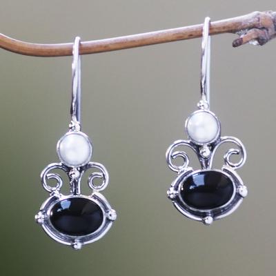 Novica Peridot and pearl drop earrings, Sunrise Spirit