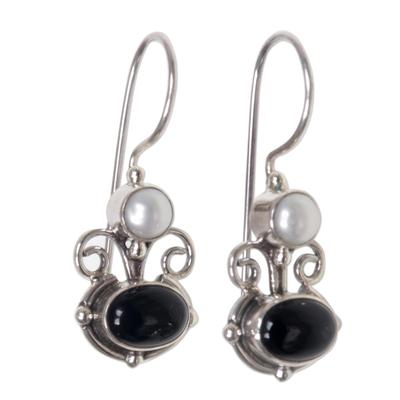 Onyx and pearl drop earrings, 'Sunrise Spirit' - Onyx and pearl drop earrings