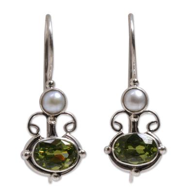Peridot and pearl drop earrings, 'Sunrise Spirit' - Peridot Sterling Silver Drop Earrings