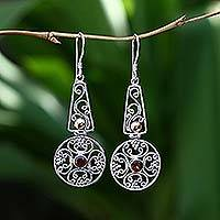 Gold accent garnet dangle earrings, 'Rapture'